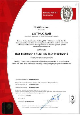 Lietpak ISO 14001 Certification En 2022