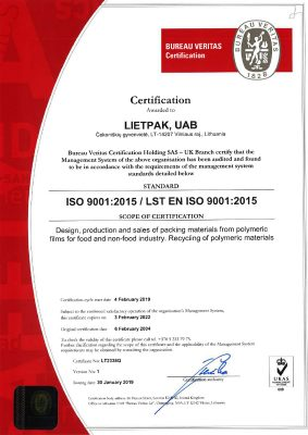 Lietpak ISO 9001 Certification En 2022